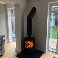 Freestanding Wood Burning Stove with Direct Ventilation Path