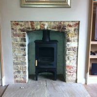 Stone Fireplace Surround with a Charnwood C-Four Stove