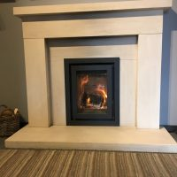 Marble Fireplace Mantle with Wood Burning Stove