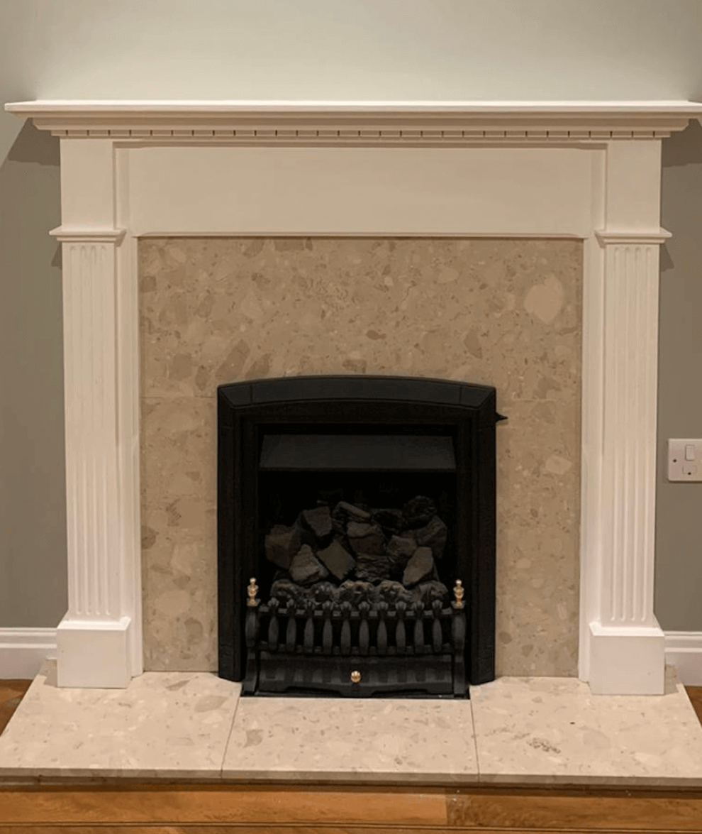 Before and After - Fitting a solid natural limestone fireplace